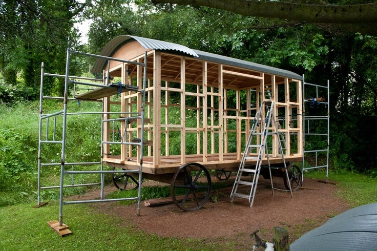 The dreadful weather this summer has meant slow progress on our shepherds hut :(