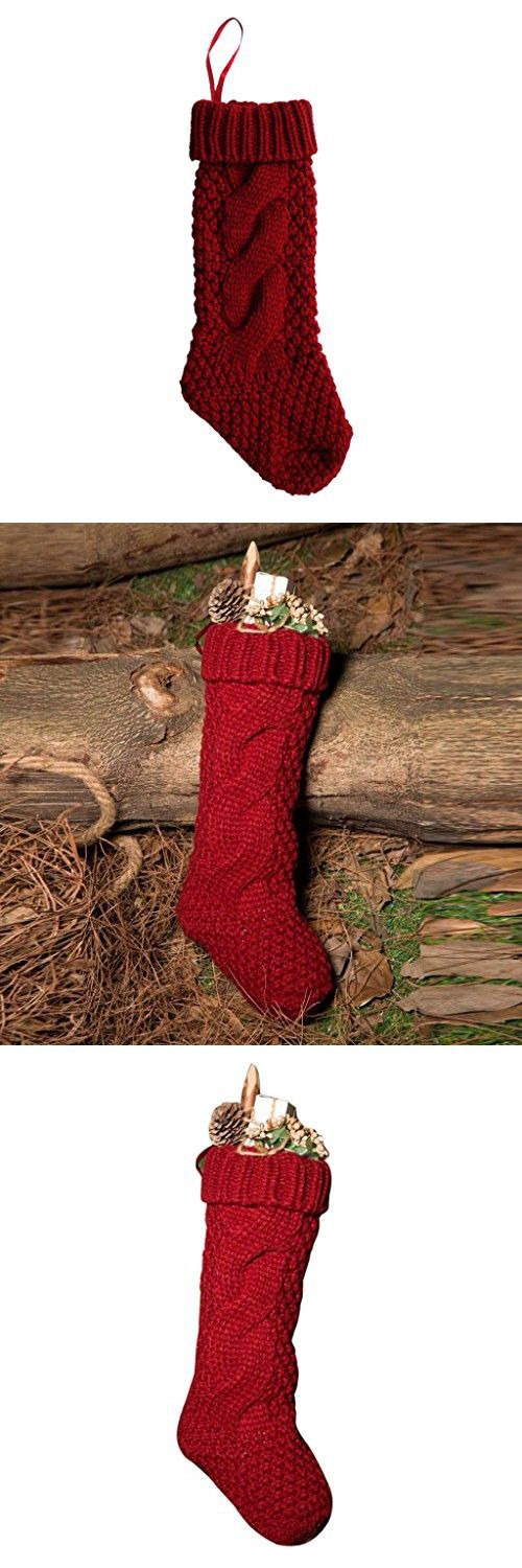 Tenworld Decoration Stockings Sack Gift Filler Sock Red Christmas Hanging Stockings (Red)