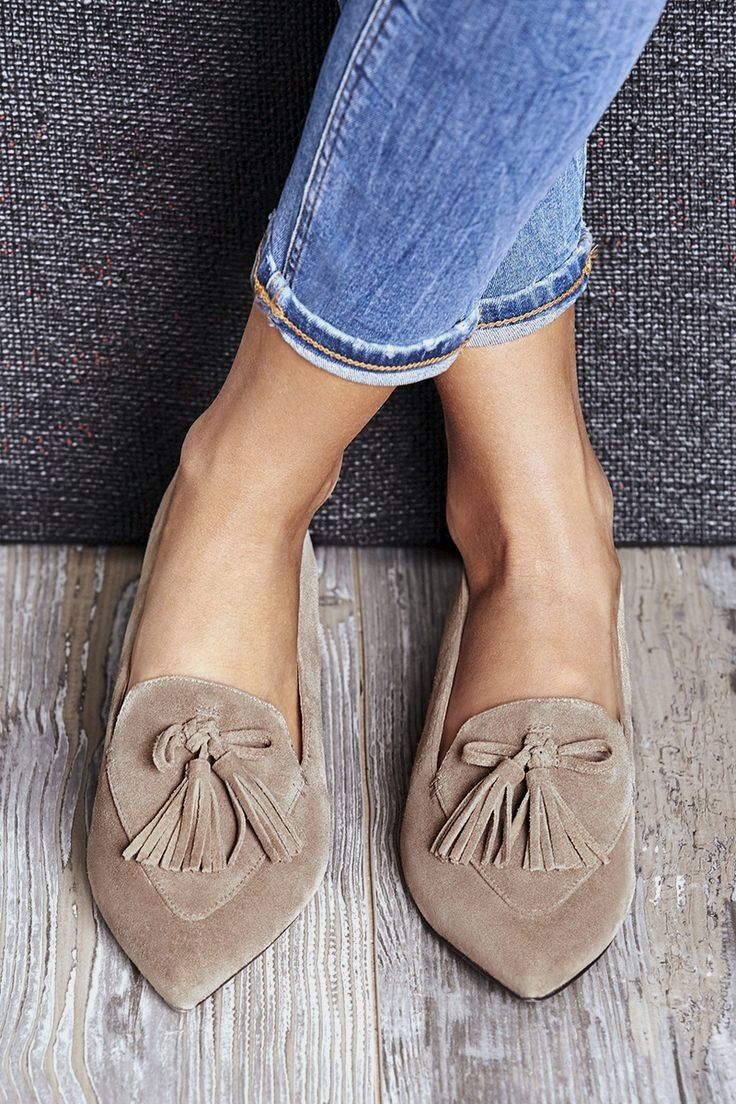 b4bc85ff8f0 Taupe suede tassel loafers