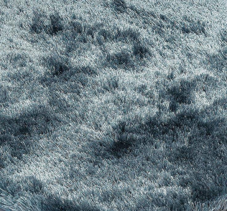 Teppich Wohnzimmer Carpet Hochflor Design WHISPER SHAGGY RUG 100 Polyester 90x150 Cm Rechteckig Blau