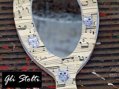 """Specchio da toeletta decorato a mano """"Gufetti&Musica"""" Gli Stolti design"""
