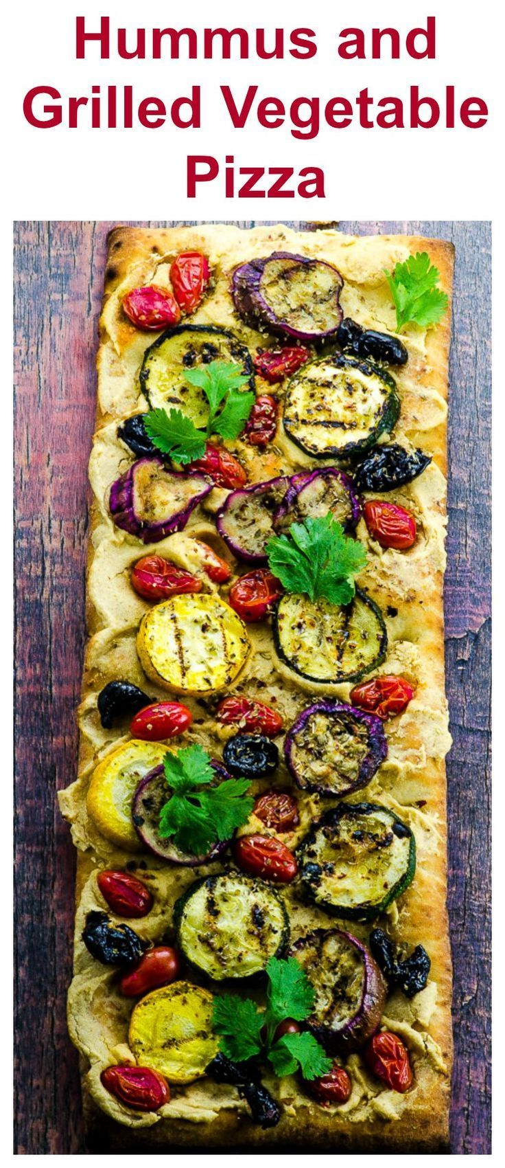 #ad @Rubbermaid For this Hummus and Grilled Vegetable Pizza recipe, we marinated zucchini, yellow squash and Japanese eggplant in olive, lemon, garlic, coriander, cumin and ginger.  We spread a store bough crust with our home made hummus, instead of chees