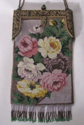 ANTIQUE MICRO-BEADED FLORAL PURSE