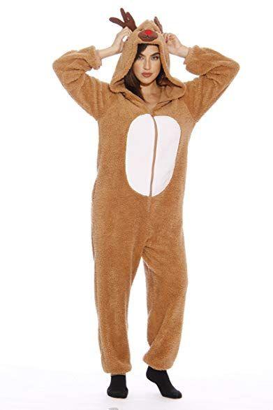 43085908e followme Adult Christmas Onesie for Women Sherpa One-Piece Pajamas ...