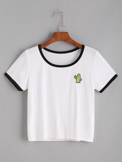 Camiseta con bordado de cactáceaes - blanco