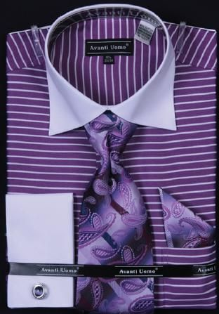 Avanti Uomo Purple Horizontal Stripe Two Tone Shirt with Tie and Hanky Set and cuff links