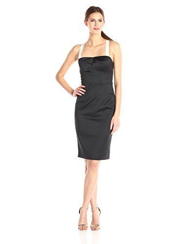 Cynthia Rowley Women's Bonded Satin Fitted Below The Knee Dress with Back Bow Detail, Black/Off White, 8 * Click image to review more details.