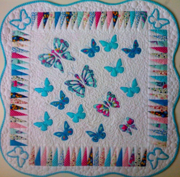 Baby blanket with blue butterflys