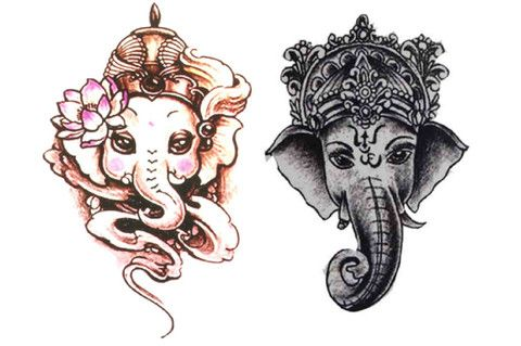 Tribal Tattoo, Temporary Tattoo Sleeve, Elephant, Arm, Favor, Shoulder, Back, Chest, Black and White, Colorful, Watercolor, Hipster