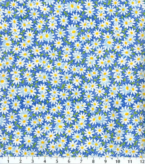 Keepsake Calico Fabric-Packed Daisy BlueKeepsake Calico Fabric-Packed Daisy Blue,