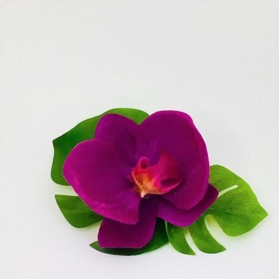 Fuchsia Purple Phalaenopsis Orchid Boutonniere Tropical Hawaiian
