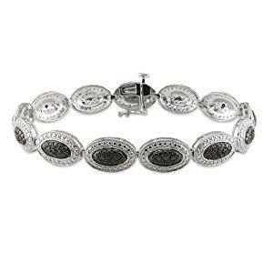 """Sterling Silver Black Diamond Bracelet (0.16 Cttw) (7.25"""")  http://electmejewellery.com/jewelry/bracelets/sterling-silver-black-diamond-bracelet-016-cttw-725-couk/"""
