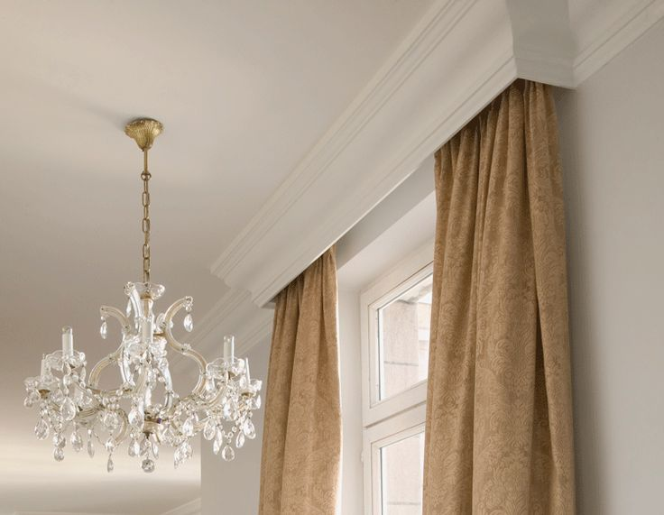 Cornice melds with Ceiling Crown Molding idea - will hide traverse rod with sheers nicely!