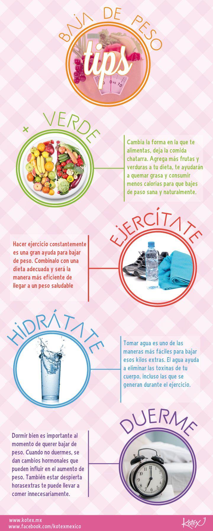 Tips para bajar de peso #mujeresenmovimiento #infografia #infographic #salud #health #fitness