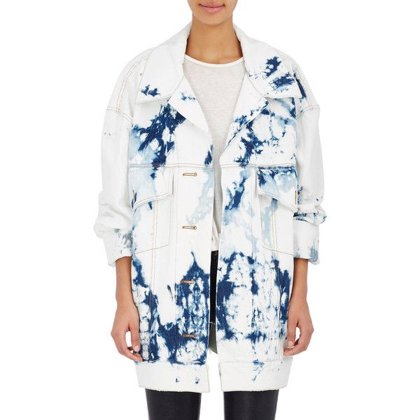 Faith Connexion Women's Tie-Dyed Denim Oversized Jacket (11,275 MXN) ❤ liked on Polyvore featuring outerwear, jackets, blue, flap jacket, oversized denim jacket, tie dye jacket, blue jackets and white denim jacket