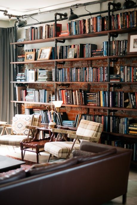 Retro style apartment with rustic bookshelf