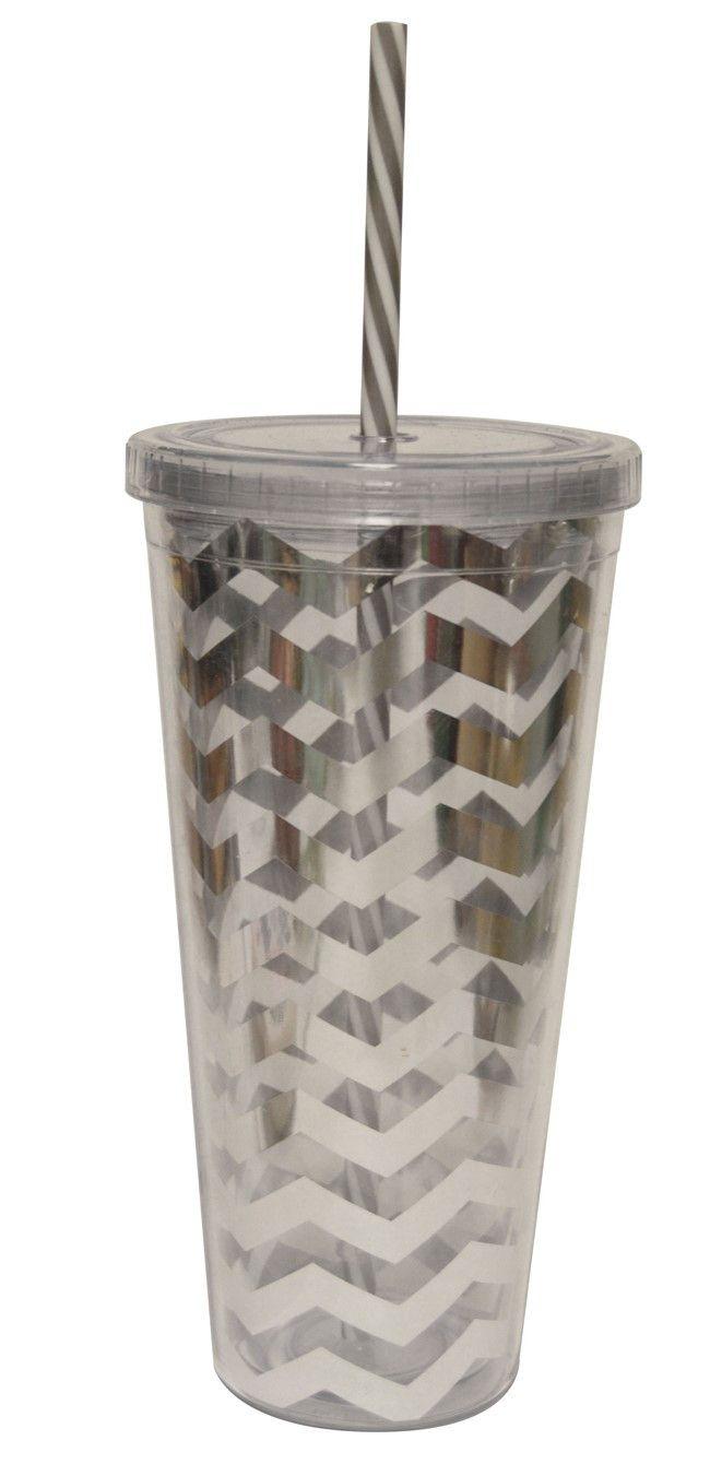 Monogramed Cold Cup Silver-Chevron
