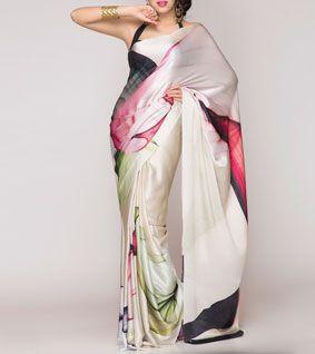 Beige Digitally Printed Silk Satin Saree