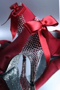 Custom Wedding Shoes -- Red Platform Wedding Shoes With Silver Rhinestone Covered Heels, Matching Bow On Heel And Silver Glitter Sole