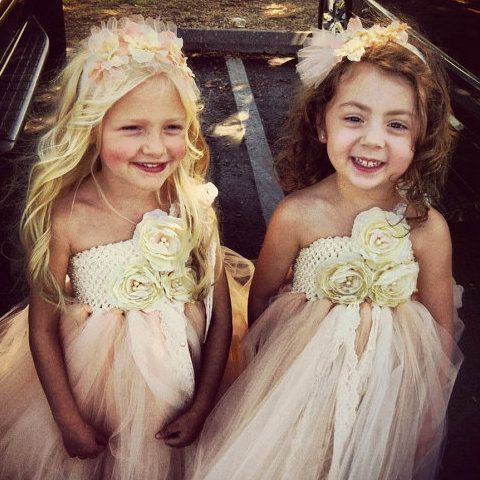 Lace and Tulle Flower Girl Tutu Dress with Straps - Rustic Elegant ...