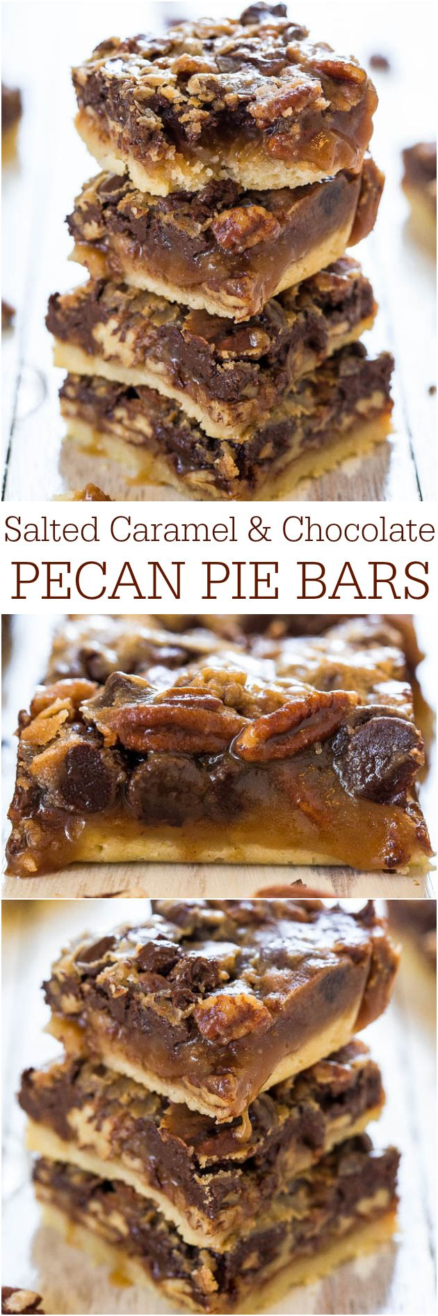 Salted Caramel and Chocolate Pecan Pie Bars - You'll never want plain pecan pie again! Caramel and chocolate makes the bars taste amazing! Your dad will love these for #FathersDay !