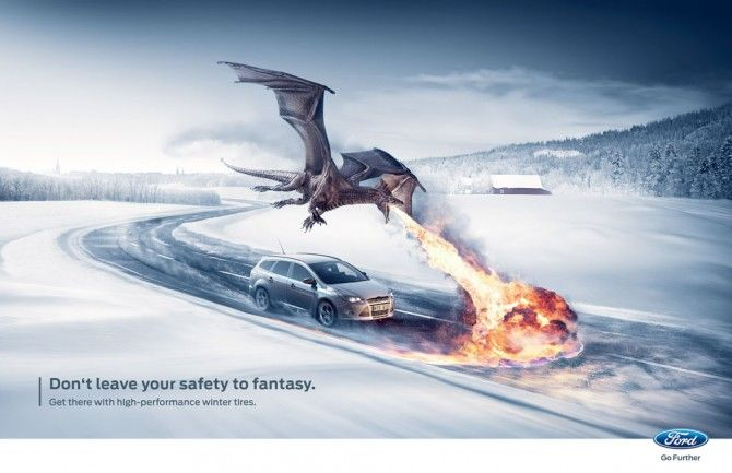 Ad campaign for Ford winter high-performance tires.