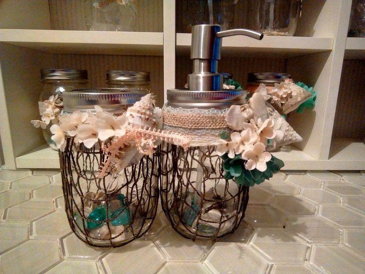 Mason Jar Beach Themed Dispensers and Toothbrush Holders