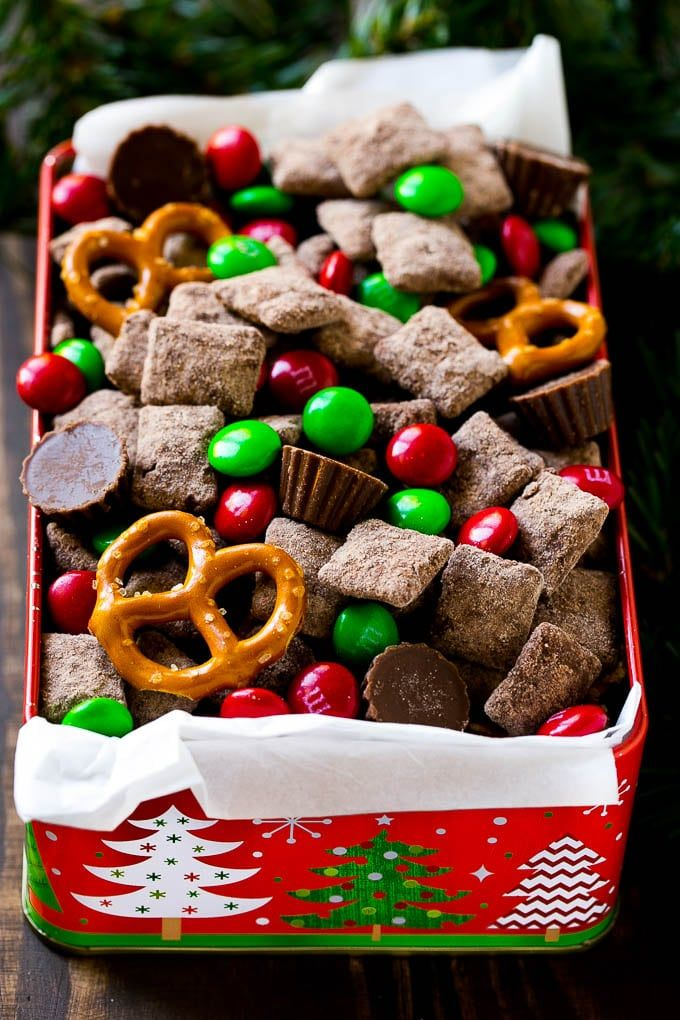 No holiday party is complete without a big bowl of reindeer chow! This Christmas chex mix is loaded with chocolate flavor & is perfect for feeding a crowd.