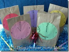 NY Day treat bags with clocks. Prize in bag given out at each time.