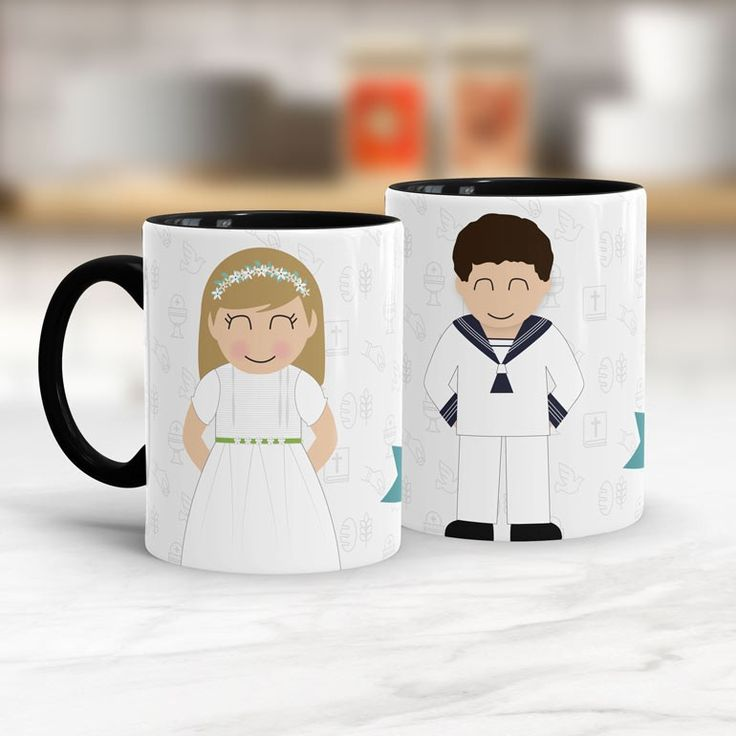 Taza personalizada como regalo de comunión ¡Envíanos fotos de niño y su traje y le haremos un miniyó igualito! Un regalo de comunión único, personalizado y original