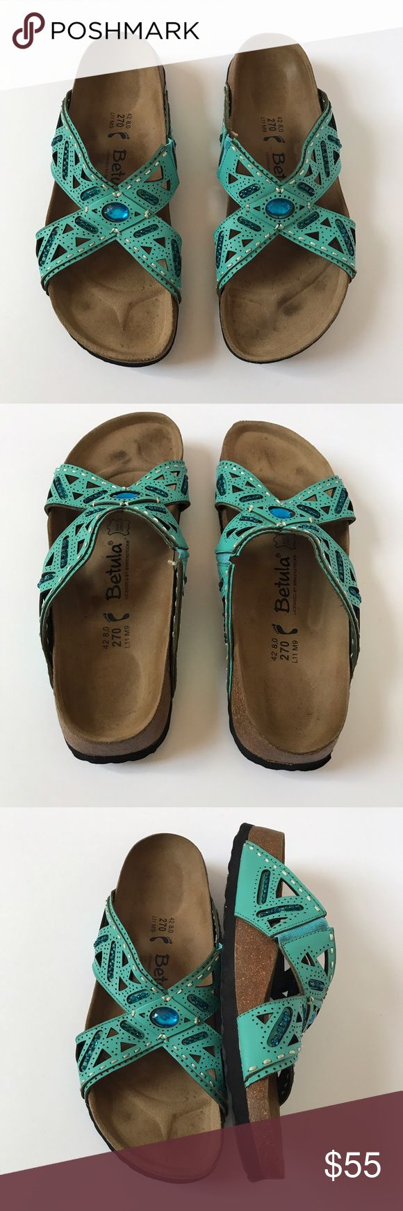 Betula  Beaded Sandals by Birkenstock Size 42 These Betula sandals by Birkenstock are in great used condition.  As you can see from the photos, they have very little wear.  They are a turquoise/teal blue and have beading on them.  Size 42, which, according to their website, is a size 11-11.5. (The Posh app automatically fills in a size 12 for this shoe, so I sized it as a 41 to match the website sizing! Check your sizing carefully!) They are a narrow as indicated by the filled in foot.  L11…
