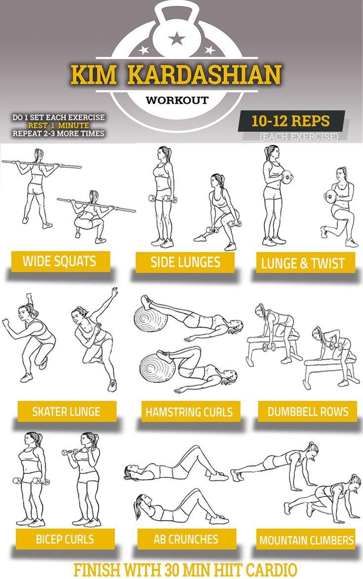 Kim Kardashian Workout Chart. Her 9 exercise routine.
