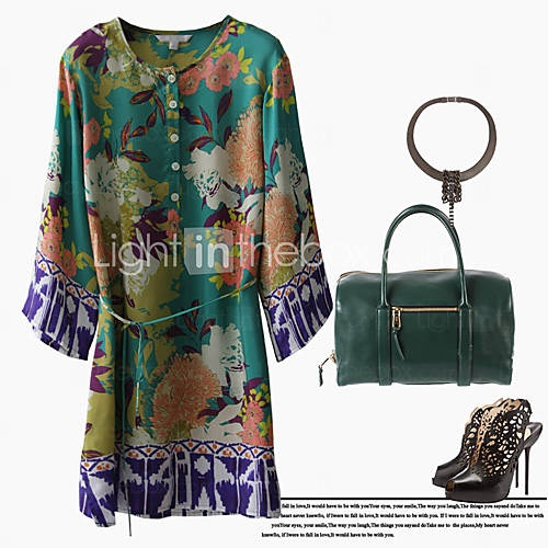 retro estampado floral blusa de seda