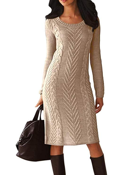 dfce203a214 Women s Casual Long Sleeve Crew Neck Slim Fit Cable Knit Pullover Sweater  Bodycon Pencil Midi Dress