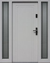 Drzwi zewnętrzne ze stałymi dostawkami doświetlami bocznymi model 642,1 w kolorze RAL 9016