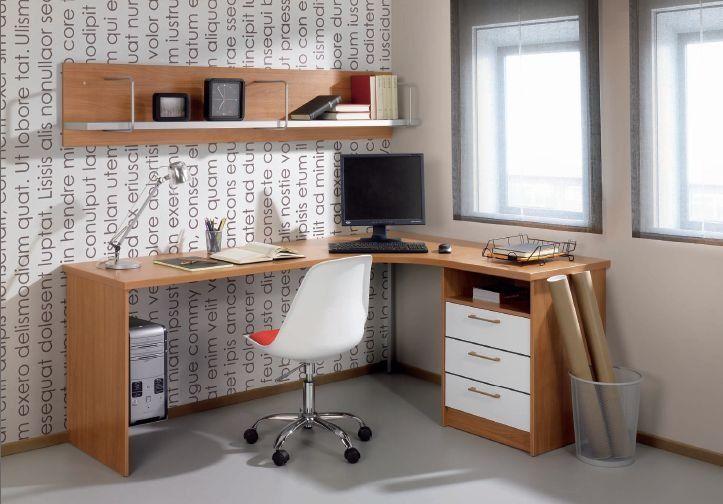escritorio esquinero para pc, con cajonera y estantes
