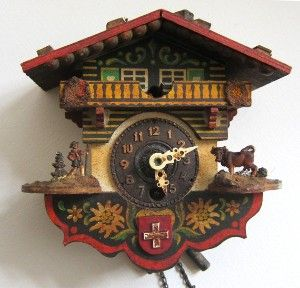 Vintage antique decorative painted wood traditional swiss cuckoo clock