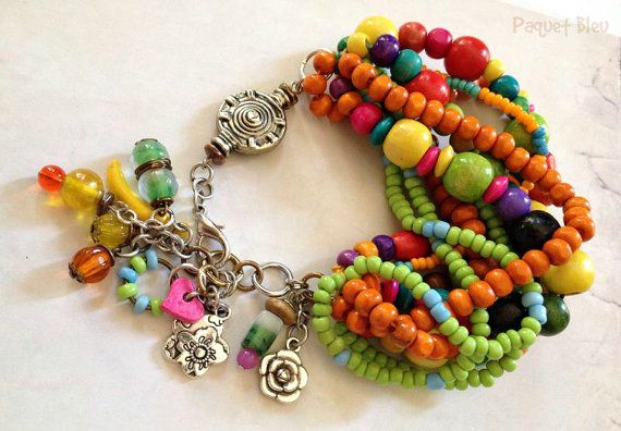 Bohemian hippie style very colorful bracelet by PaquetBleu on Etsy