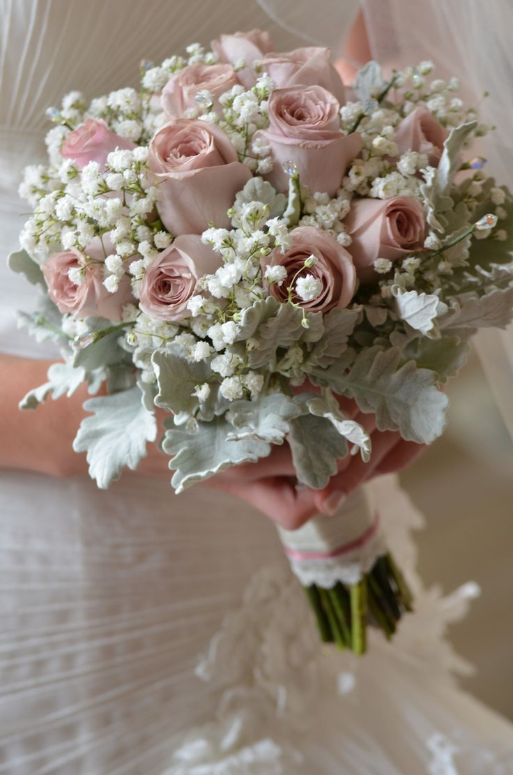 I want!!! Recipe Dusty pink roses . Dusty miller . Gypsophillia. White satin ribbon wrapped in lace from the dress and vintage dusty pink ribbon .