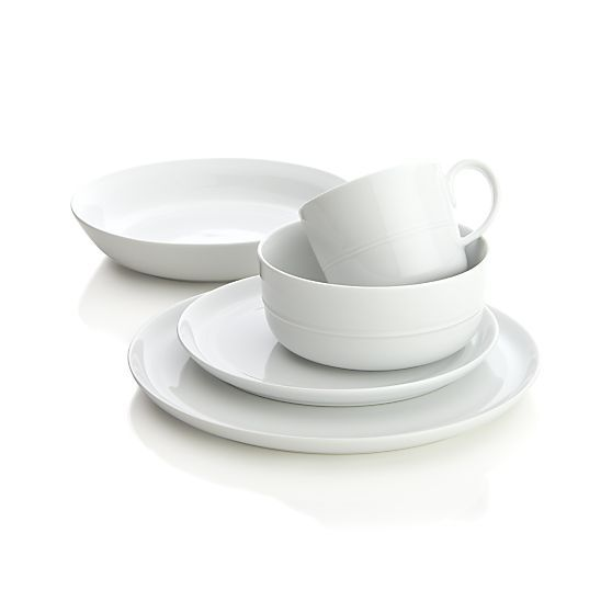 Hue White Dinner Plate  | Crate and Barrel - Porcelain option - good reviews, though the bowls aren't quite stackable