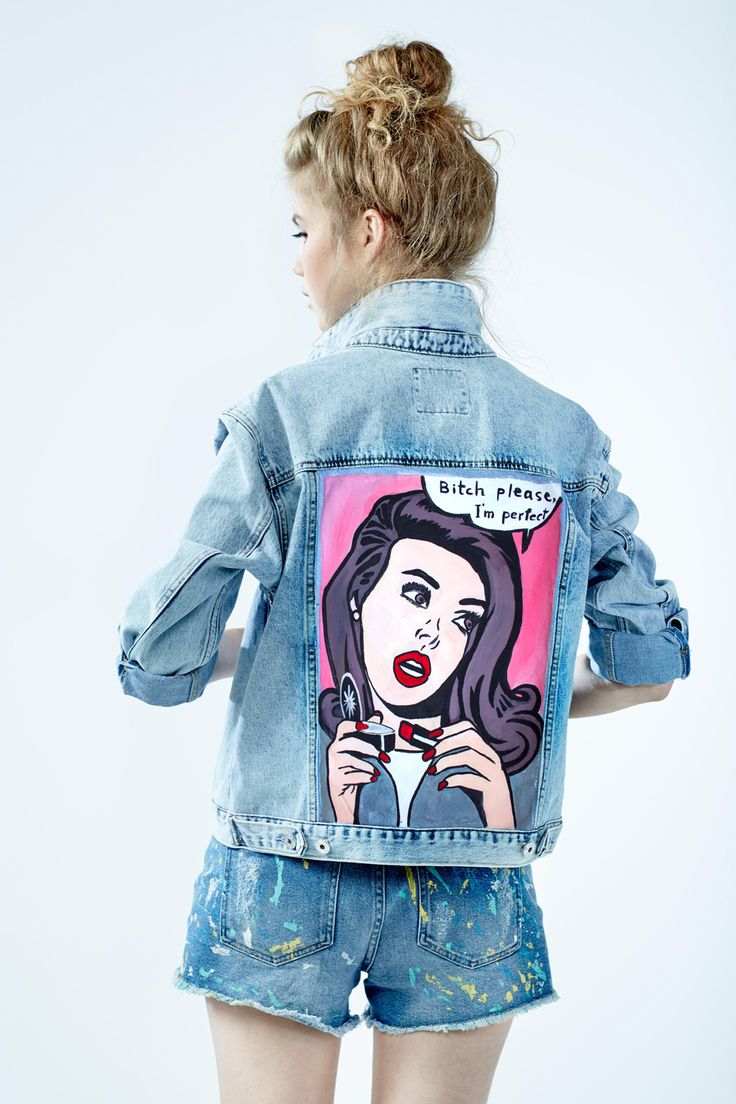 Denim Jacket Bitch Please I M Perfect Of Gently Blue