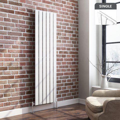 Vertical Flat Panel Designer Gas Radiator In White 1600mm X 452mm Living Room