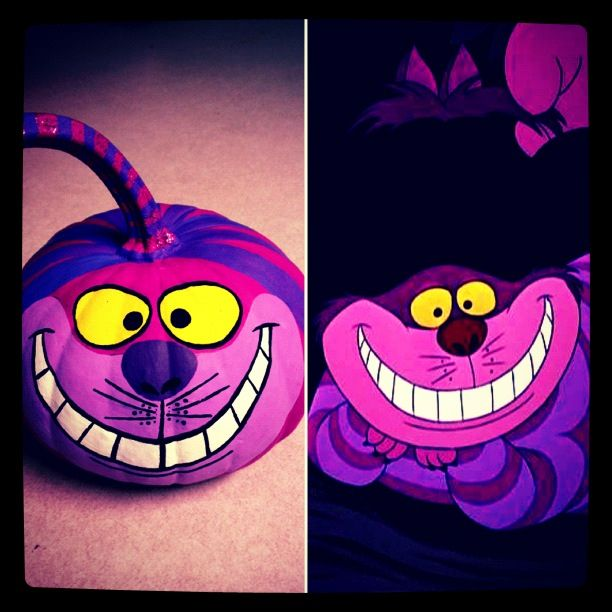 Just finished painting my pumpkin, an Alice in Wonderland inspired Cheshire Cat in honor of one of my favorite Disney movies. :)