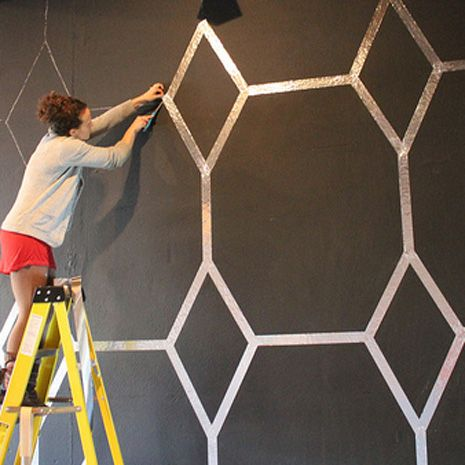 Loving this original idea! How to Funk Up a Wall With Foil Tape -Momo