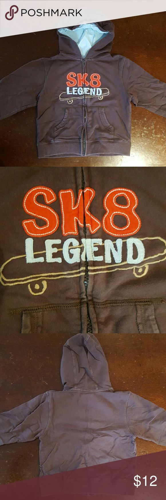 Gymboree Zip-up Hoodie, Size 4T-5T Gymboree brown zip-up hoodie with embroidered  skateboard and says 'SK8 Legend.'  100% cotton.  Size 4T-5T.  No visible stains or damage. Comes from a non-smoking home. Gymboree Shirts & Tops Sweatshirts & Hoodies