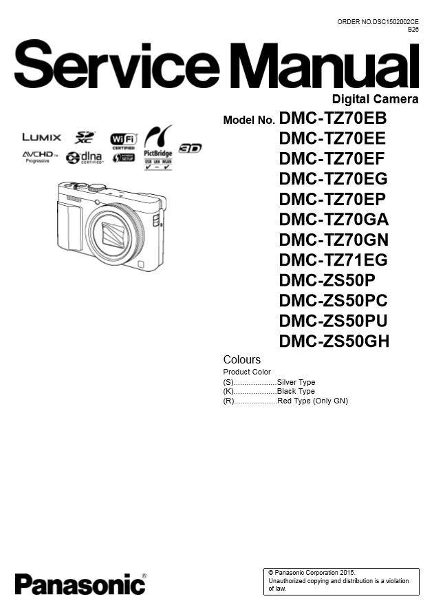 Panasonic Lumix DMC TZ70 TZ71 ZS50 Service Manual and Repair