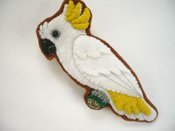 Felt parrot brooch, sulphur crested cockatoo parrot pin in white and yellow  $18