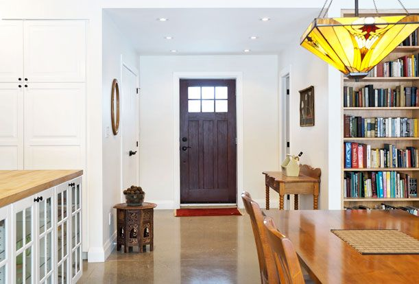 View of the entrance from the Great Room.  Passive Solar Design | Sustainable Building | Solares Architecture