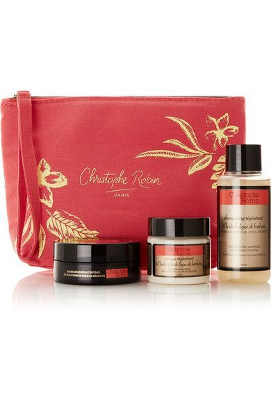 All three products in Christophe Robin's 'Regenerating Hair Ritual' travel kit are infused with Prickly Pear Seed oil - a rare ingredient with powerful restorative antioxidants. The daily shampoo smooths tresses, the mask repairs split ends and prevents future damage and the balm conditions and hydrates each strand. #Beauty