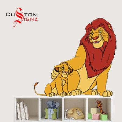 Lion King Simba Mufasa Disney Cartoon Wall Sticker Art Vinyl Mural  Personalise Full Colour 580mm X